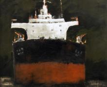 "Robert Schlegel, ""Freighter #4"", 2013, acrylic on paper, 28 x 21"" image"